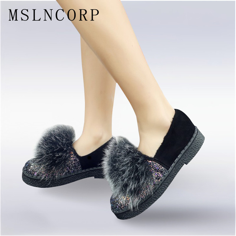 Plus Size 34-45 New Women Shoes Winter Real Rabbit Fur Bling Platform Flats Warm Loafers Ladies Shoes Slip On Autumn ballerines 2017 fashion winter flat fur shoes women rabbit fur tide lazy shoes slip on casual plus velvet loafer shoes autumn new arrival