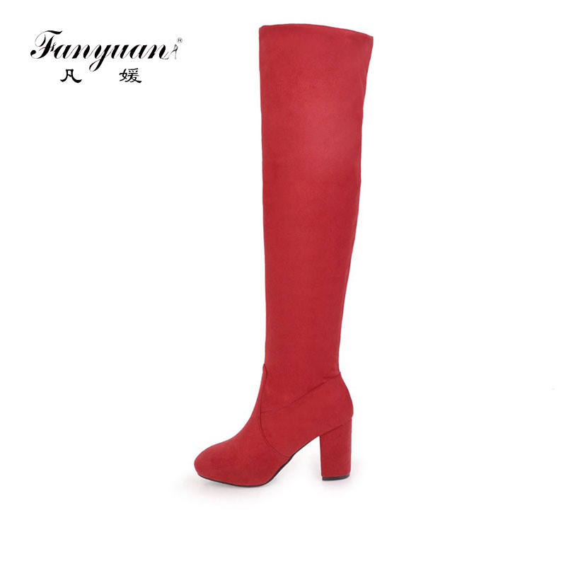 Automne Talon Mode red blue Taille Chevalier Genou Black Femmes Rond Sur Haute Plate Boot Robe Printemps Le Bottes Bout 45 32 Fanyuan Chaussures Casual forme F7xSqvF