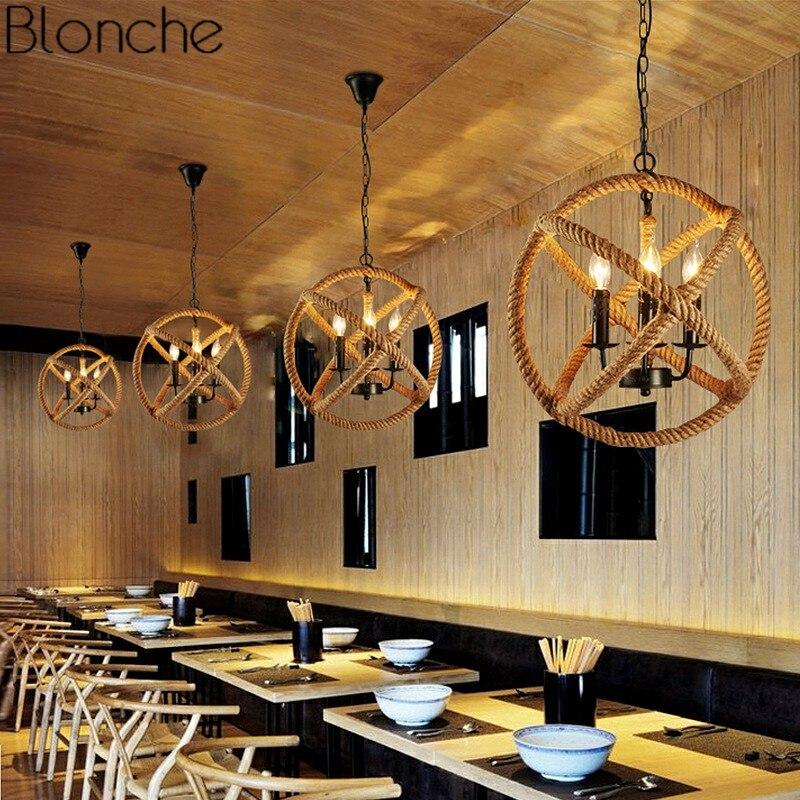Gzmj Vintage Hemp Rope Pendant Light Loft Creative Industrial Kitchen Light Pendant Lamp For Restaurant Coffee Bar Fixture Light Pendant Lights Ceiling Lights & Fans