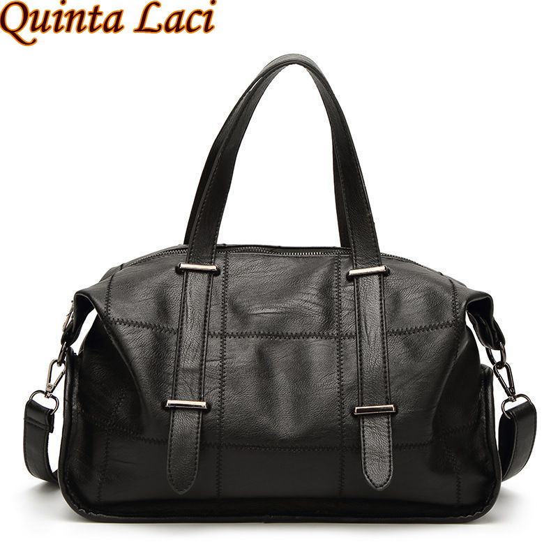 Quinta Laci Women Bag 2018European and American Fashion Large Capacity Motorcycle Bag Leisure Simple Portable Bags Women Handbag quinta laci women bag 2017 new single shoulder light art leisure bucket bags color stitching tote bag retro hit dice mother bag