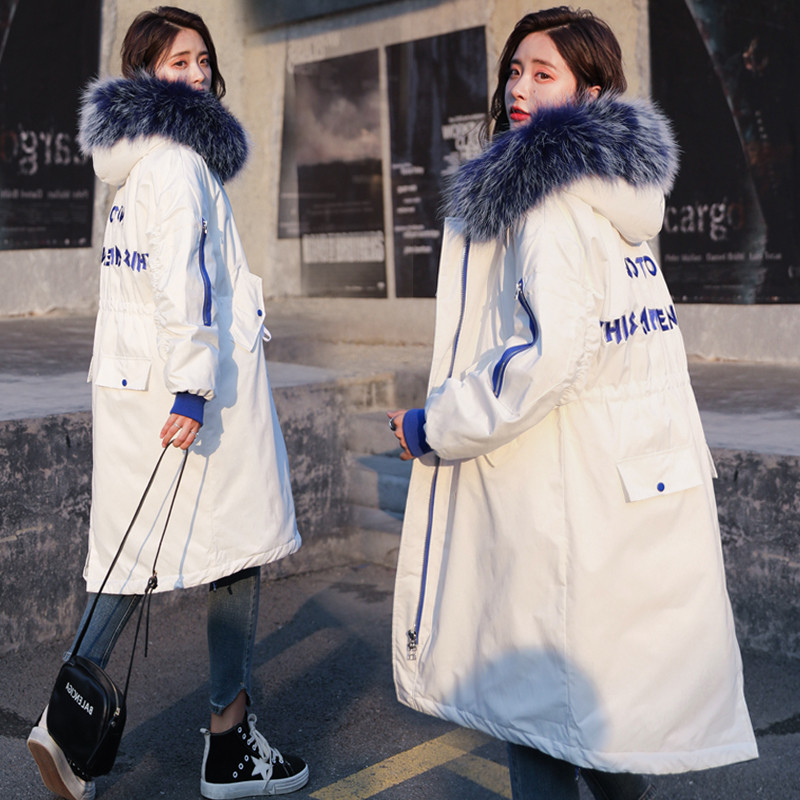 2018 NEW Women Winter Coat Puffy Fake Fox Fur Casual Zipper Slim Fit Cotton   Parka   Jackets Outerwear X96