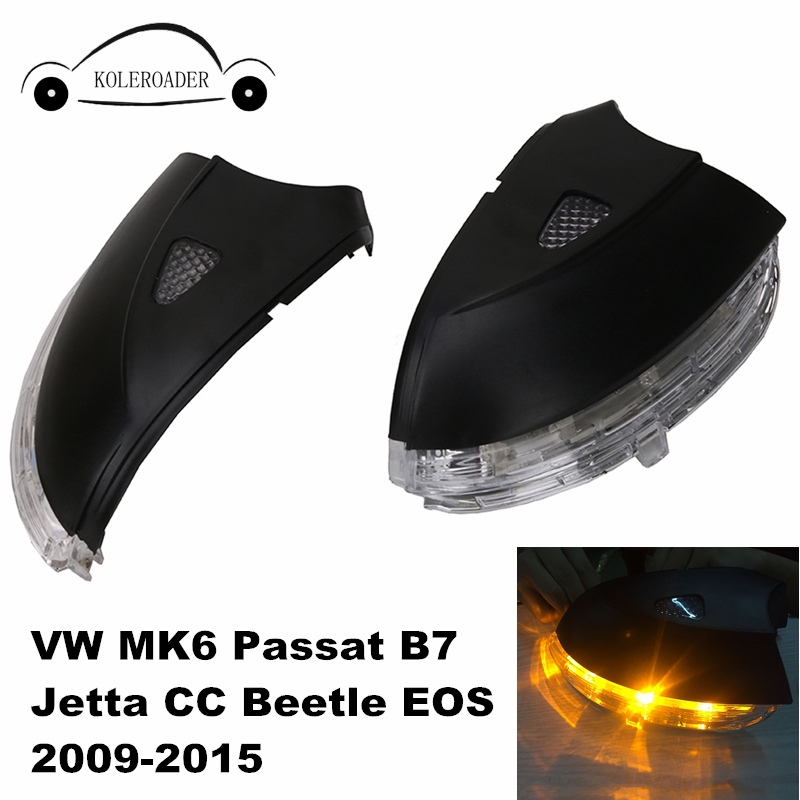 Door Side Rear View Mirror Cover Case with LED Turn Signal Light for VW MK6 Passat B7 Jetta CC Beetle EOS 2009-2015 Left / Right abs mirror cover chrome matt painted cap side mirror housings for volkswagen jetta golf 5 passat b6 ct