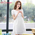 Cotton maternity 100% one-piece dress loose plus size maternity clothing summer short-sleeve medium-long maternity dress