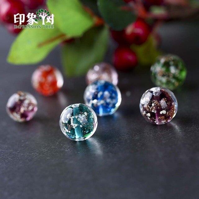 10pcs 10mm Round Luminated Flower Glass Loose Beads Luminous Lampwork Beads Handmade Crystal DIY Beads Jewelry Makings 16017