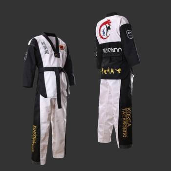 Uniforme de Taekwondo de alta calidad para adultos, niños y adolescentes, dobok, Poomsae, rojo, azul, negro, Ta kwon, aprobado por WTF