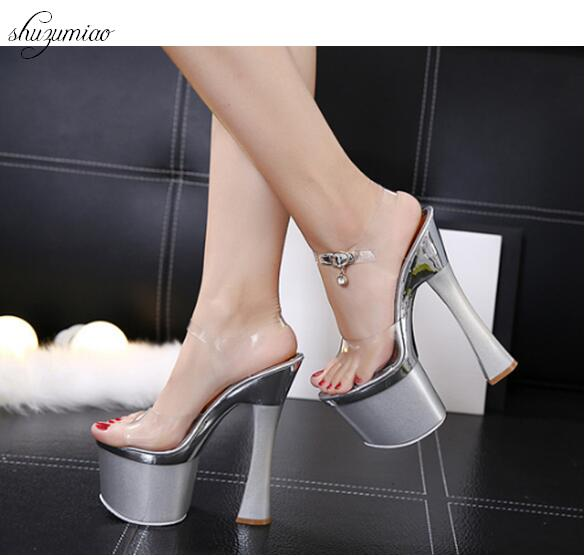 95e2e5fc3f9 US $31.85 35% OFF|2018 Crysta New Silver Buckle Glitter Fashion Sexy High  Heels Platform Party Wedding Summer Girl Female Women Shoes Sandals-in High  ...