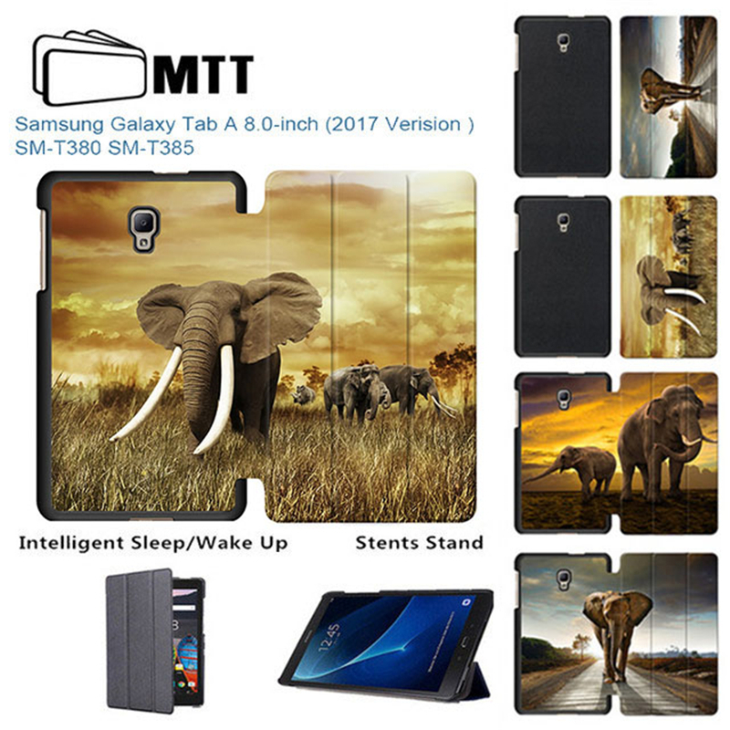 MTT Elephant Painted PU case for Samsung Galaxy Tab A 8.0 SM-T380 T385 2017 folio Tablet stand Cover for samsung Tab A 8 case cartoon colorful case for samsung galaxy tab a 8 0 t380 sm t385 2017 smart cover funda tablet stand pu leather shell film pen