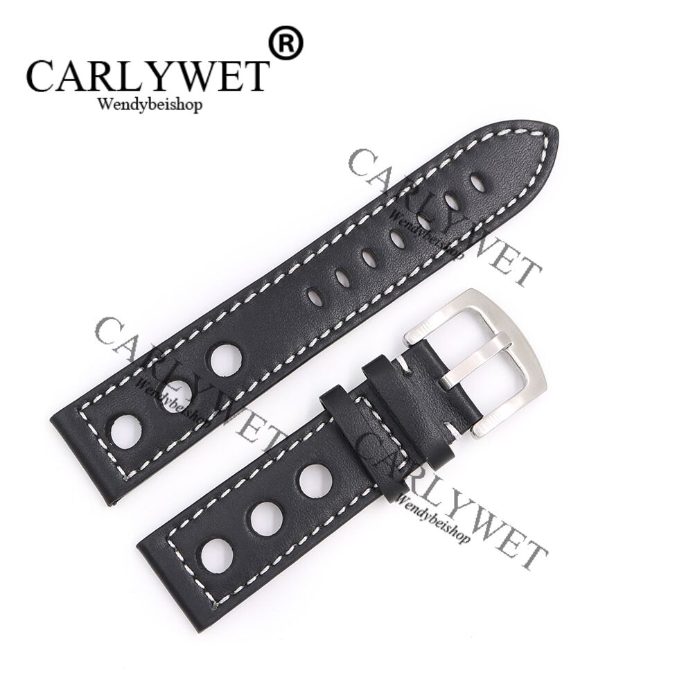 CARLYWET 22mm Real Calf Leather Handmade Black with White Stitches Wrist Watch Band Strap Belt Clasp in Watchbands from Watches