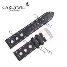 CARLYWET 22mm Real Calf Leather Handmade Black with White Stitches Wrist Watch Band Strap Belt Clasp