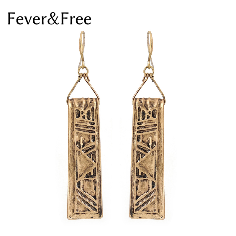 Fever&Free 2019 New Arrival Bohemian Big Rectangle Long Drop Earrings Women Geometry Texture Dangle Earrings Jewelry Wholesale