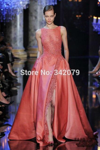 Ph1196 rose robe dentelle satin duchesse haute fente elie saab 2015 haute  couture longue robe de