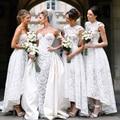 Igreja de casamento dois estilos de alta baixa da dama de honra com colher decote A linha Floral vestido de dama de honra