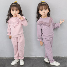 цена на Baby Girl Clothing Sets Kids Sport Suit 2PCS Lace Cotton Spring Autumn Children Clothing Girls Tracksuit Set 3 4 5 6 7 8 9 Years