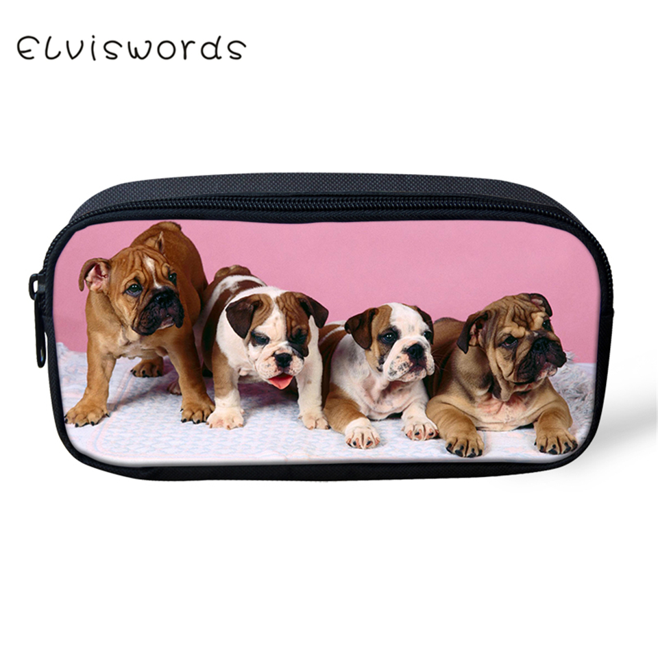 ELVISWORDS Kids Pencil Case Little Bulldogs Pattern Students Stationery Box Kawaii School Supplies Pen Bag Cartoon Beautician
