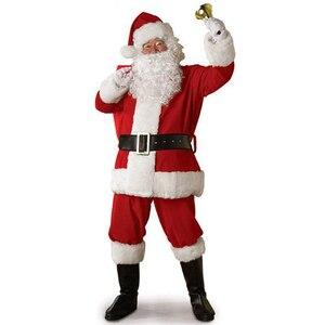 Image 1 - למבוגרים סנטה קלאוס תלבושות חליפת קטיפה אב מפואר בגדי חג המולד קוספליי אבזרי גברים מעיל מכנסיים זקן חגורת כובע חג המולד סט