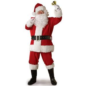 Image 1 - Adult Santa Claus Costume Suit Plush Father Fancy Clothes Xmas Cosplay Props Men Coat Pants Beard Belt Hat Christmas Set