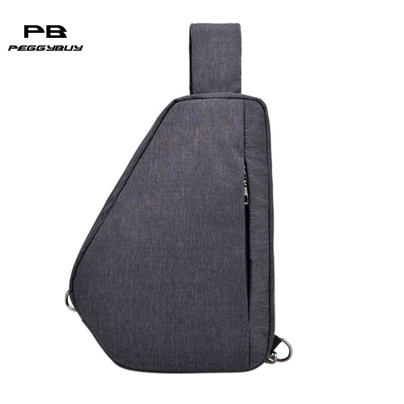 Men Casual Simple Chest Pack Multipurpose Zipper Shoulder Laptop Sling Charging Messenger Handbag Single Shoulder Strap Pack