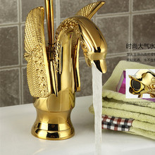 Free shipping Swan golden bathroom basin mixer tap with single lever hot cold basin faucet of solid brass water tap