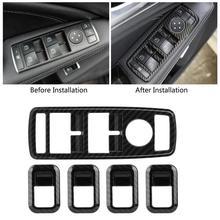 5 шт. авто углеродного волокна кнопка включения окно накладка рамка для Mercedes Benz A B C E CLA GLA GLK ML GLE класса W204
