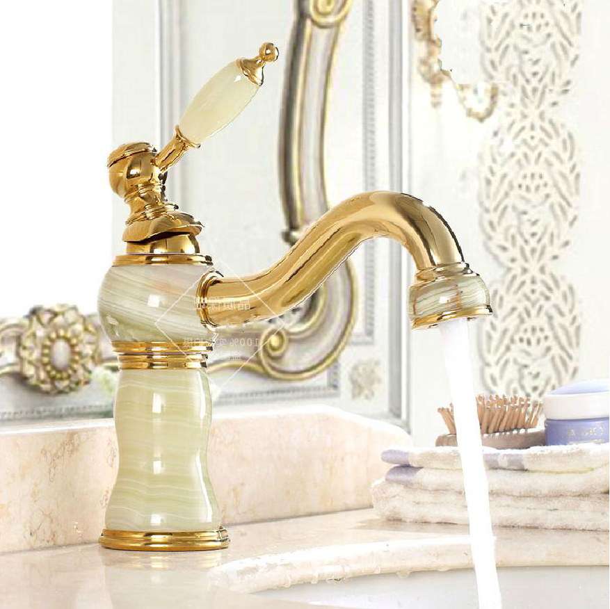 Basin Faucets Golden Bathroom Sink Taps Classic Jade Gold-plating European Style Brass Deck Mounted Hot and Cold Mixer Tap E-08Basin Faucets Golden Bathroom Sink Taps Classic Jade Gold-plating European Style Brass Deck Mounted Hot and Cold Mixer Tap E-08