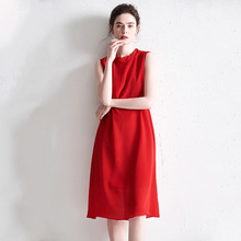 PIXY Summer Chinese Red Silk Dress Women Back Bow Midi Tank Dresses Solid Office Ladies Work Clothes Sleeveless Vest sukienka