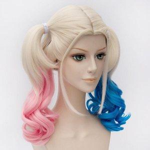 Image 3 - Anime Suicide Squad Batman Joker Harleen Quinzel Wig Harley Quinn Heat Resistant Synthetic Hair Cosplay Wigs + Wig Cap