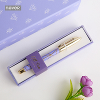 Never Purple Diamonds Series Metal Gel Pen 0 5mm Black Ink Writing Pen Gift Packing Korean
