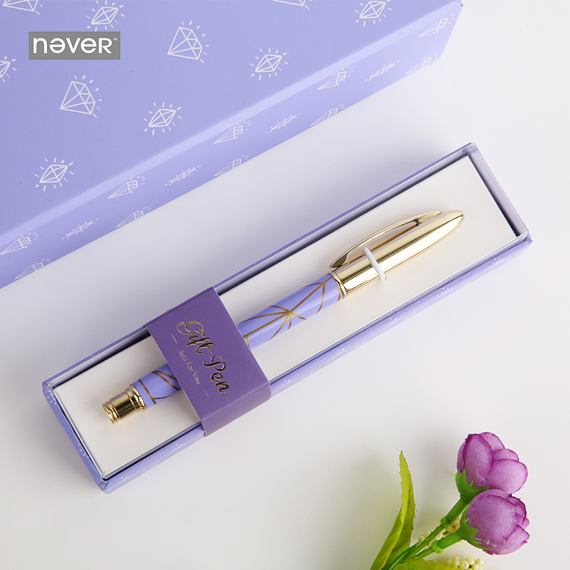 цена на Never Purple Diamonds Series Metal Gel Pen 0.5mm Black Ink Writing Pen Gift Packing Korean Stationery Office And School Supplies