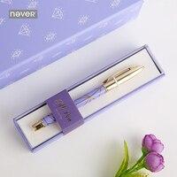 Never Purple Diamonds Series Metal Gel Pen 0 5mm Black Ink Writing Pen Gift Packing Korean