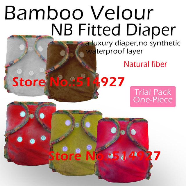 Bambú recién nacido terciopelo pañal equipada, natural de bambú equipada, EA2 NB pañal de bambú, coloque al bebé de 2.8-5kgs, no resistente al agua