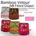 Bebê recém-nascido de veludo de bambu fralda equipada, natural de bambu fralda equipada, NB EA2 fralda de bambu, coloque o bebê de 2.8-5kgs, não à prova d' água