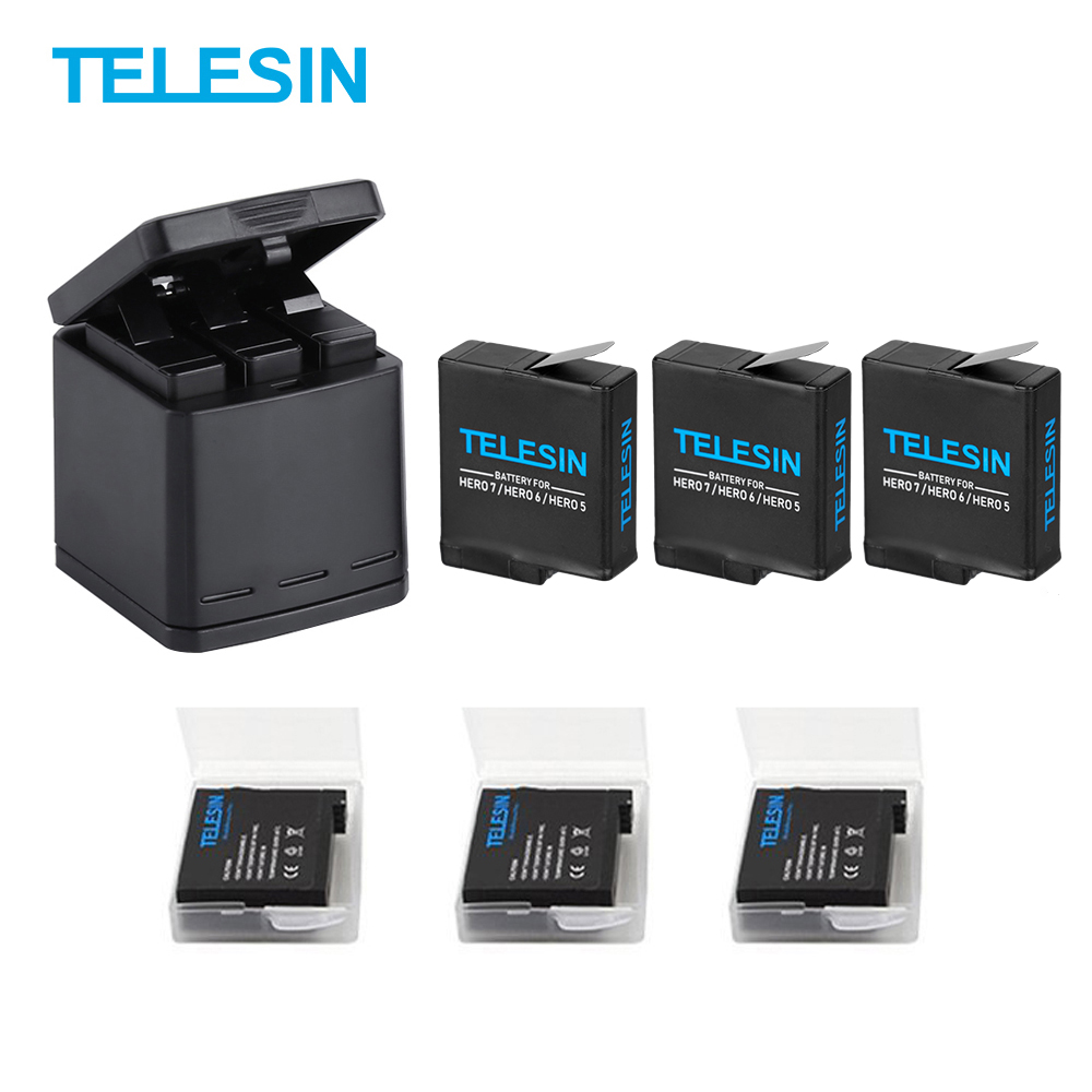 TELESIN 3 way Battery Charger and 3 Batteries Kit Charging Storage Box with Replacement Battery for
