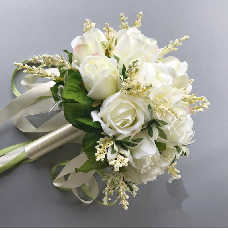 Country Style Wedding Bouquets Artificial Flowers 18 White