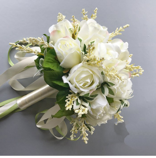 Country style Wedding Bouquets Artificial Flowers 18 White Rose ...