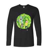 2017 Fashion Summer Style Rick And Morty Transfer Space Funny Long TShirts Long Sleeve T Shirt