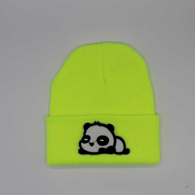 e8c07725 Cartoon Panda Series Men Women Beanie Hats Sombrero Unisex Knitted Cap  Winter Hat Cotton Skullies Soft Warm Ski Caps 20 Colors