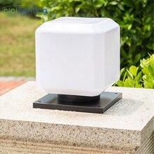 Современный минималистичный E27 наружный столб освещение, черная квадратная основа белый абажур наружный двор пост лампа, входная дверь постинг лампа