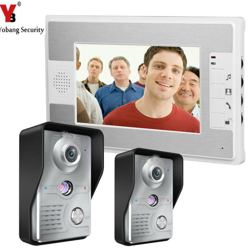 YobangSecurity 7 Inch Wired Video Door Entry System Home Security Camera Video Door Intercoms 2-camera 1-monitor Night Vision