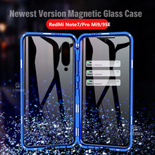 Egeedigi Magnetic Adsorption Metal Case For Xiaomi Redmi Note 7 Pro Mi9/9SE Front+Back Transparent Tempered Glass Magnet Cover