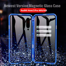 Egeedigi Magnetic Adsorption Metal Case For Xiaomi Redmi Note 7 Pro Mi9/9SE Front+Back Transparent Tempered Glass Magnet Cover(China)