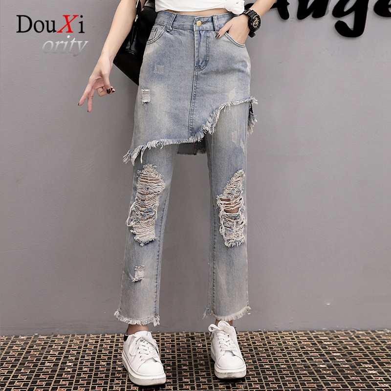2017 Ripped Jeans For Woman Fake 2 Piece Denim Pants Big Hole Destroyed Women Jeans High Waist Femme P Trousers Ankle-length