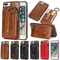 Caso Desmontable de lujo Para el iphone 8 7 Plus 2 en 1 Casos para el iphone 7 8 Teléfono Cubierta de La Caja Más El Cinturón de Cuero Suave de Silicona Coque