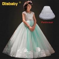 4b29244cb89307 2019 Teenage Girls Beading Ball Gown Children Lace Floor Length Dress  Flower Girls Princess Elegant Wedding