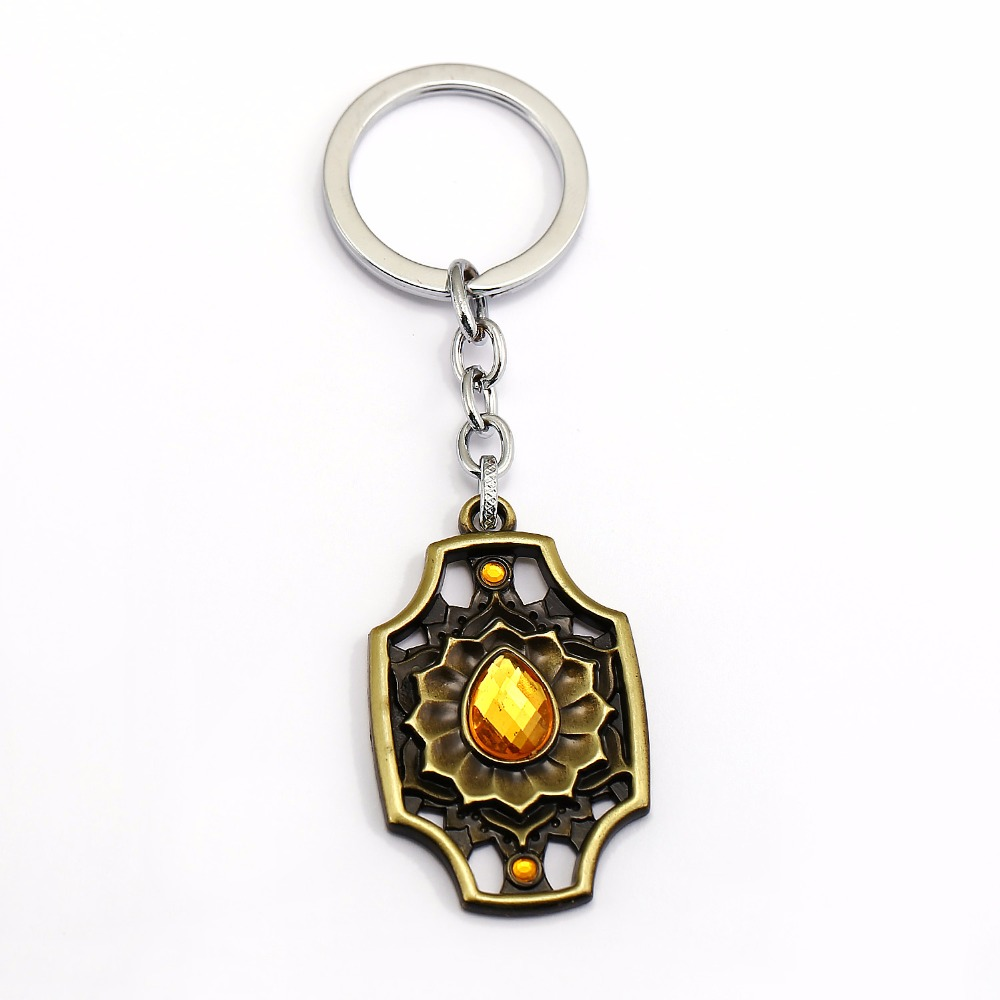 Fantasty Game hollow Geometric Keychain Dota 2 Ember Spirit Model Keychain Champagne Gems