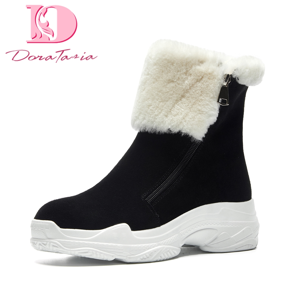 Doratasia Brand dropship cow suede warm fur Russia winter snow boots women shoes zippr platform ankle boots woman sneakers shoes цены онлайн