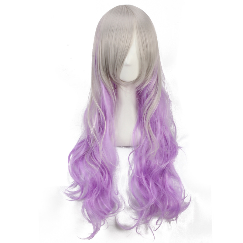 ccutoo 70cm Long Wavy Multi-Color Synthetic Hair High Temperature Fiber Full Hairpiece Cosplay Wigs Womens Party Wigs