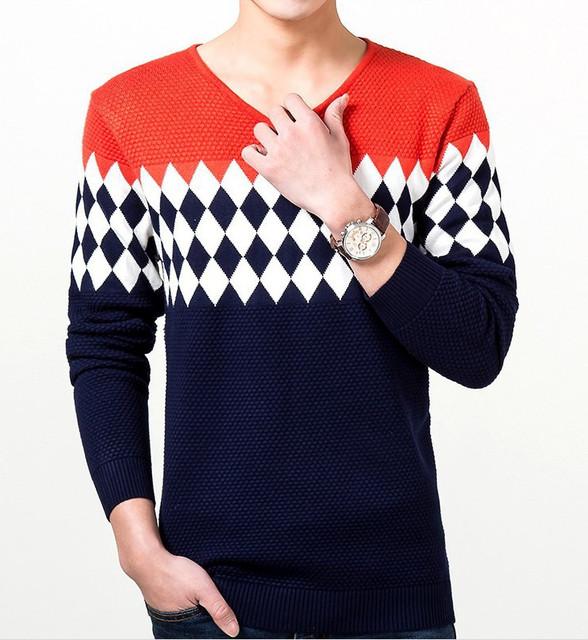 ZOEQO New men's sweater Slim male V-neck knit sweater men casual jumper fashion pullover men sweter hombre