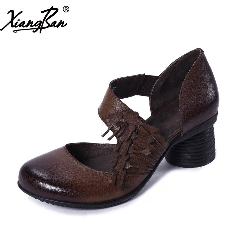 Xiangban 2019 spring women leather shoes handmade retro women pumps comfortable fashion summer heelsXiangban 2019 spring women leather shoes handmade retro women pumps comfortable fashion summer heels