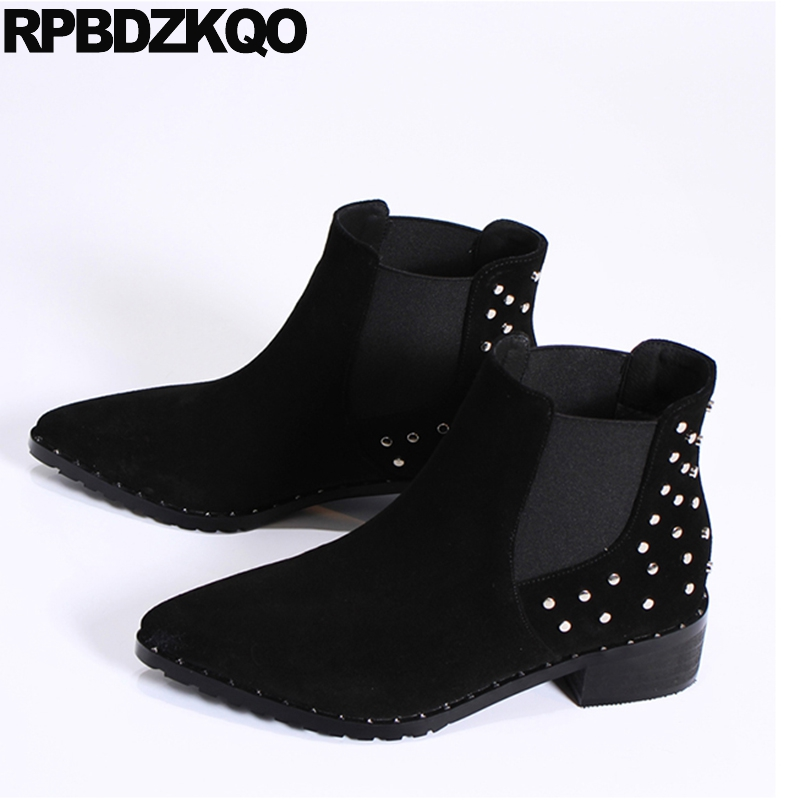 цена на Low Heel Pointy Chunky Ankle Boots Short Chelsea Stud Designer Shoes Women Luxury 2018 Genuine Leather Booties Rivet Suede Metal