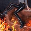 Mujeres de La Manera de LA PU de Cuero Pantalones Largos Dama Negro Delgado Grueso SexyWarm Leggings Niña de Terciopelo Elástico Pantalones S/M/L/XL/XXL/XXXL/XXXXL